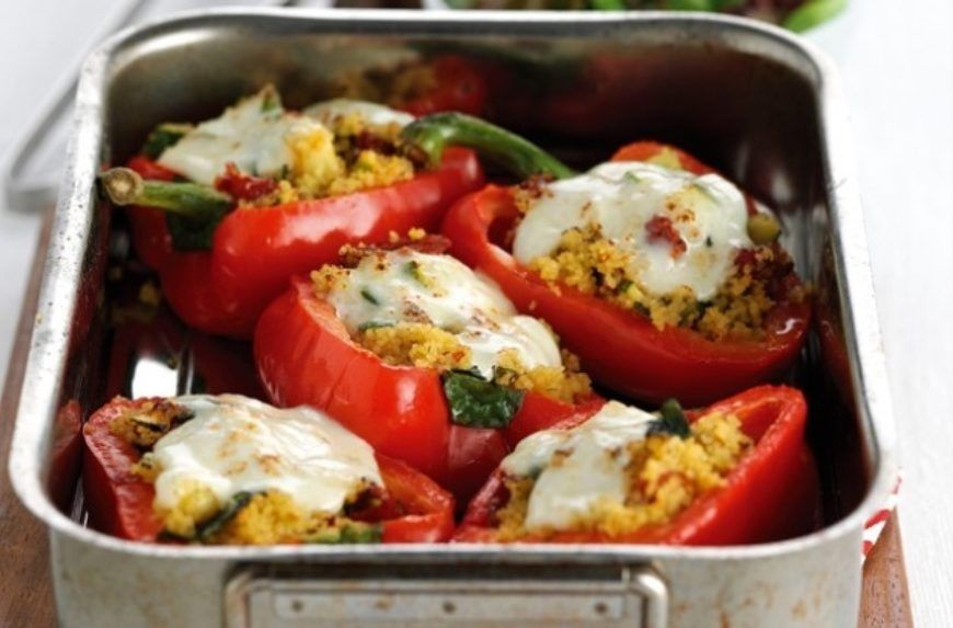 Stuffed Peppers With Couscous Courgette And Mozzarella