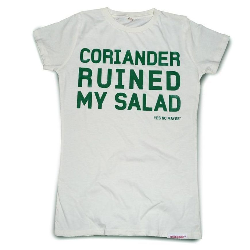 Yes No Maybe Womens Coriander Ruined My Salad Raw Cut T Green On Off White Front 800X800