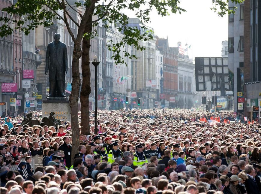 Crowd At College Green Waits For Barack Obama