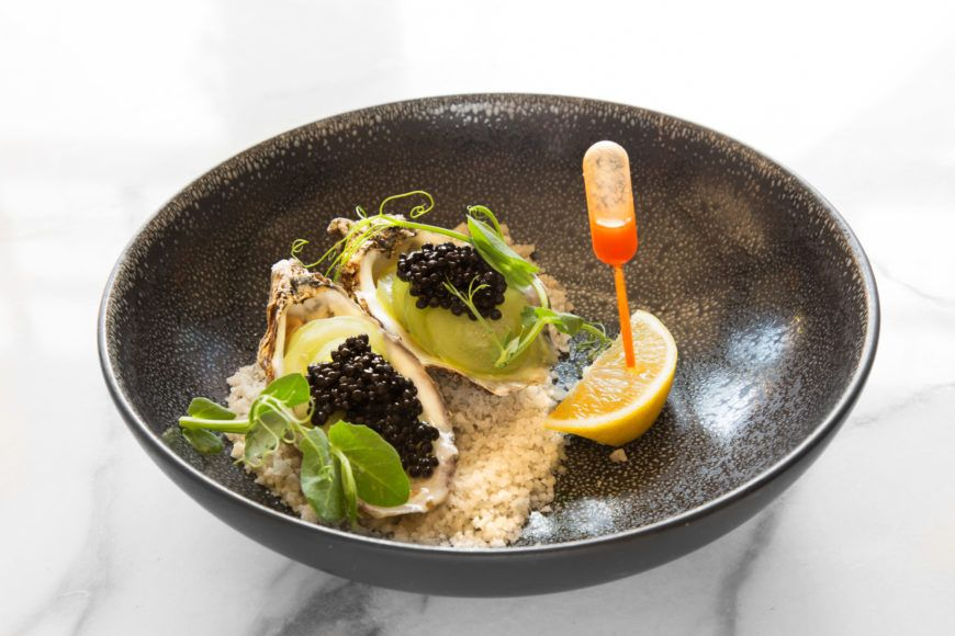 Carlingford Lough Rock Oysters With Cucumber And Caviar