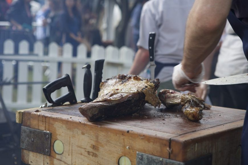 Meat Being Chopped On Butcher Block