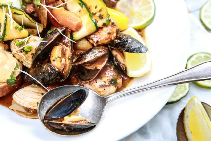 A Spanish Style Fish Stew With Clams Gambas Mussels Market Fish And Potato In Saffron Tomato Broth By Head Chef Andrew Lawlor At Le Plancha Restaurant Www Leplancha Ie65