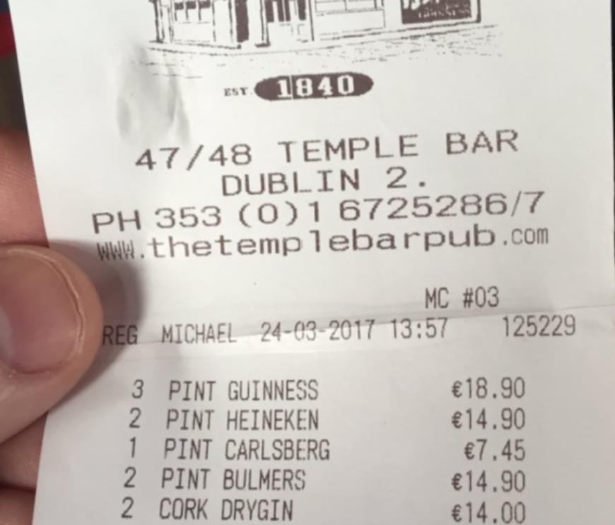 Temple Bar Receipt