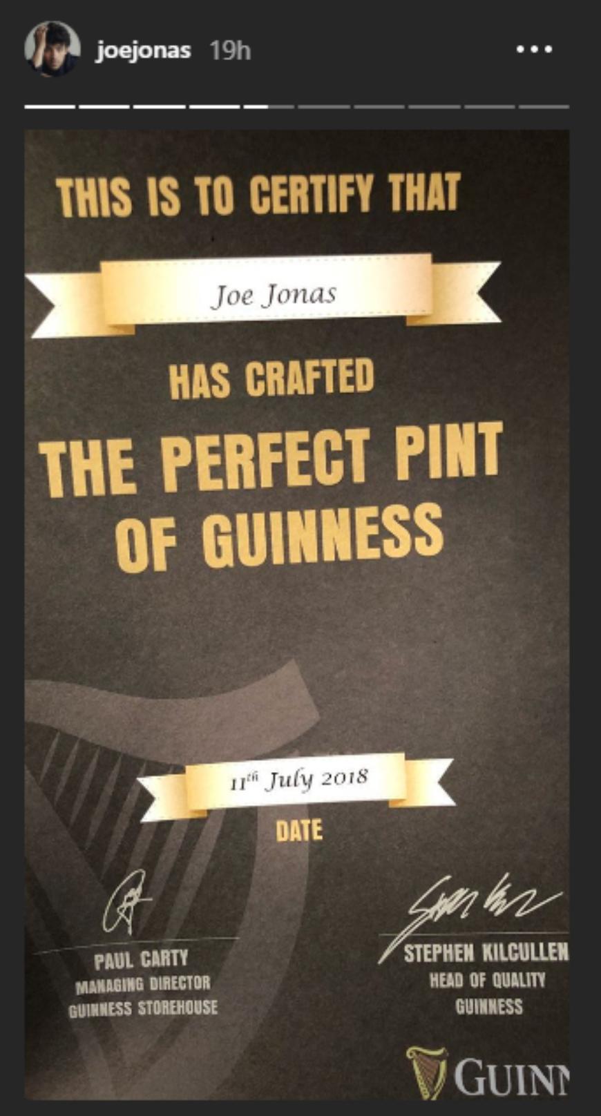 Joe Jonas Guinness