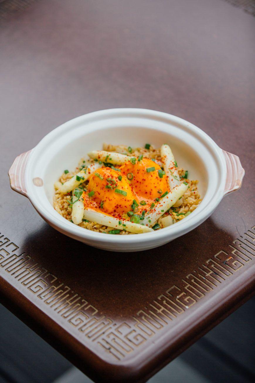 Fried Rice Asparagus Kimchi Hollandaise