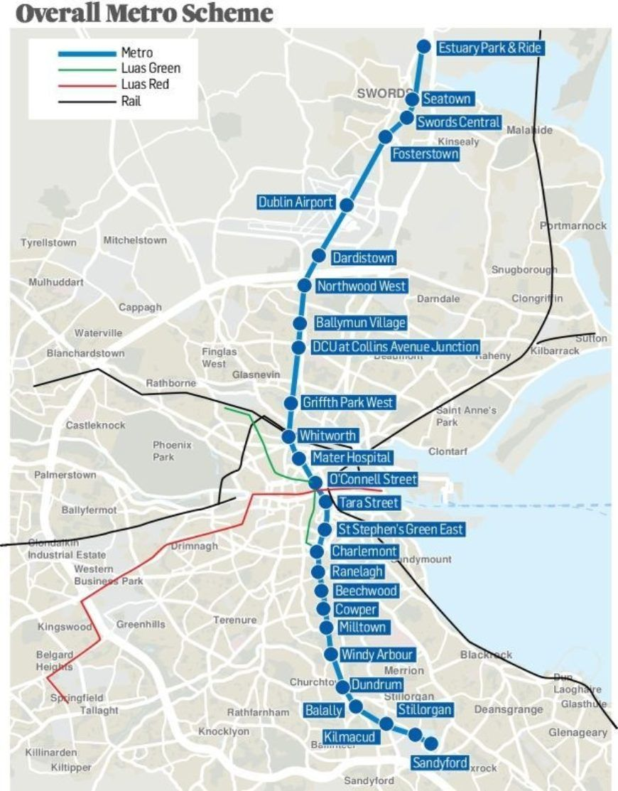 Pic The New Dublin Metro Map Has Been Revealed With Updated Stops