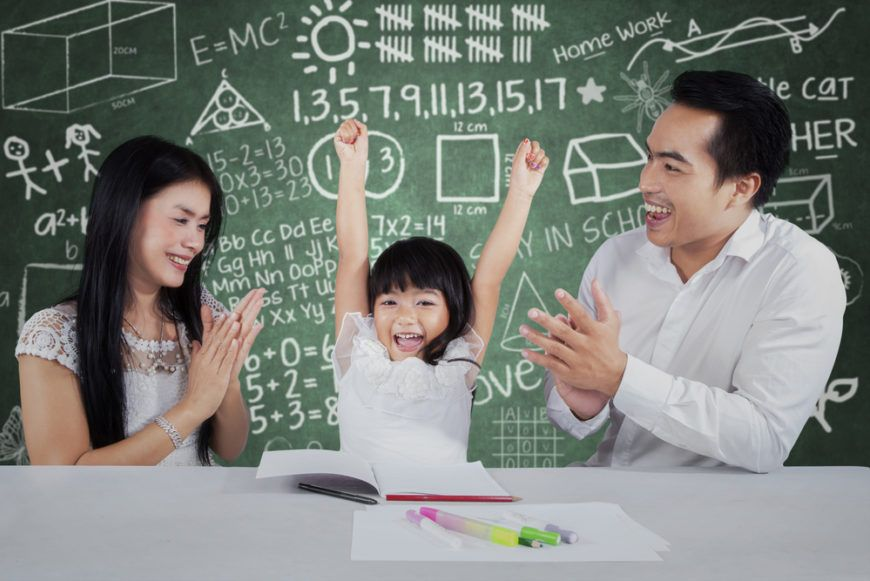 Child Celebrating With Parents
