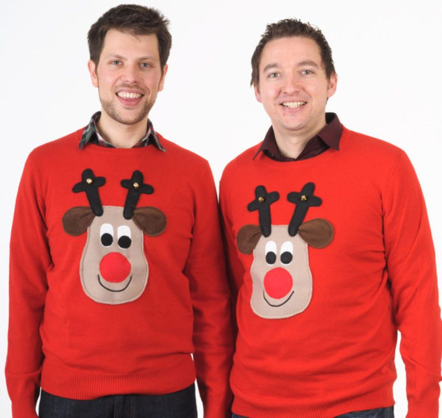 Matching mens christmas jumpers rudolph grande