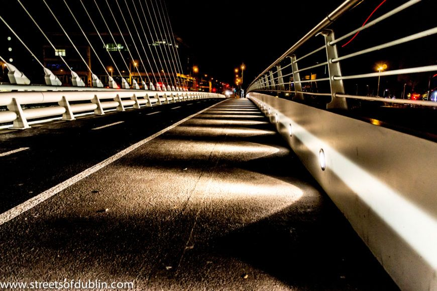 Dublin Docklands At Night December 2012 - Samuel Beckett Bridge