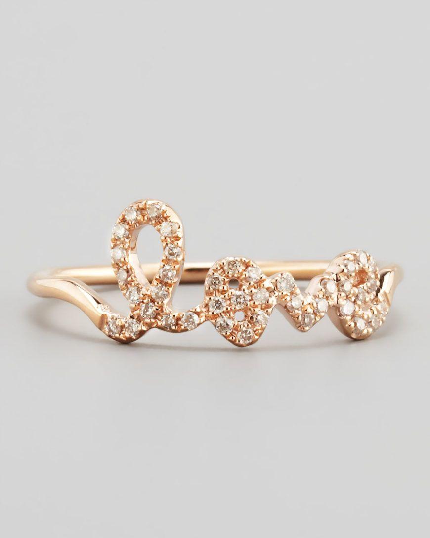 Sydney Evan Gold 14K Rose Gold Diamond Love Script Ring Product 1 8429498 748983349