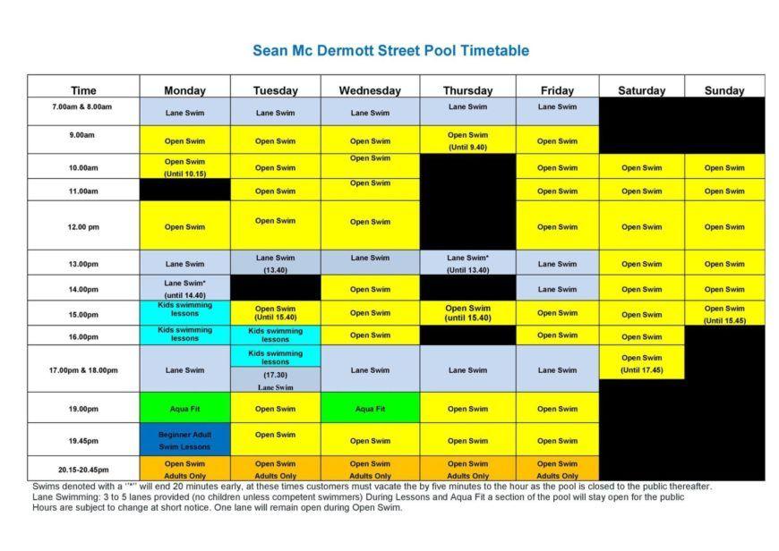 Sean Mcdermott St Pool Timetable