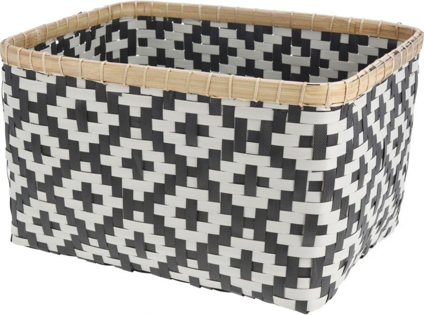 Straw Storage Basket With Bamboo Edge