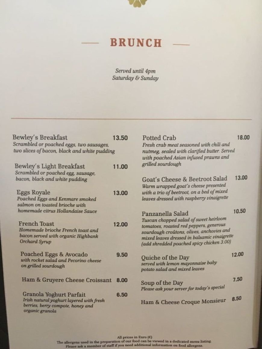 Bewleys Menu