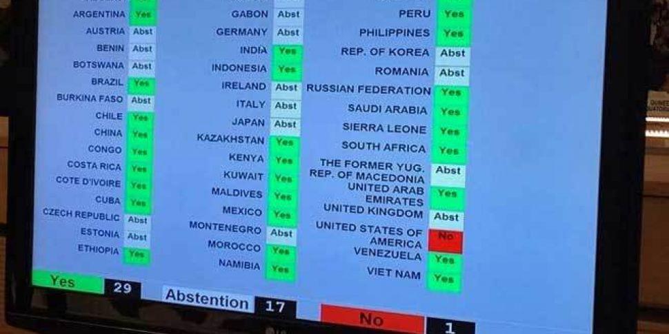 Ireland abstains from UN vote...