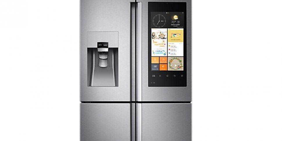 This fridge takes photos of it...
