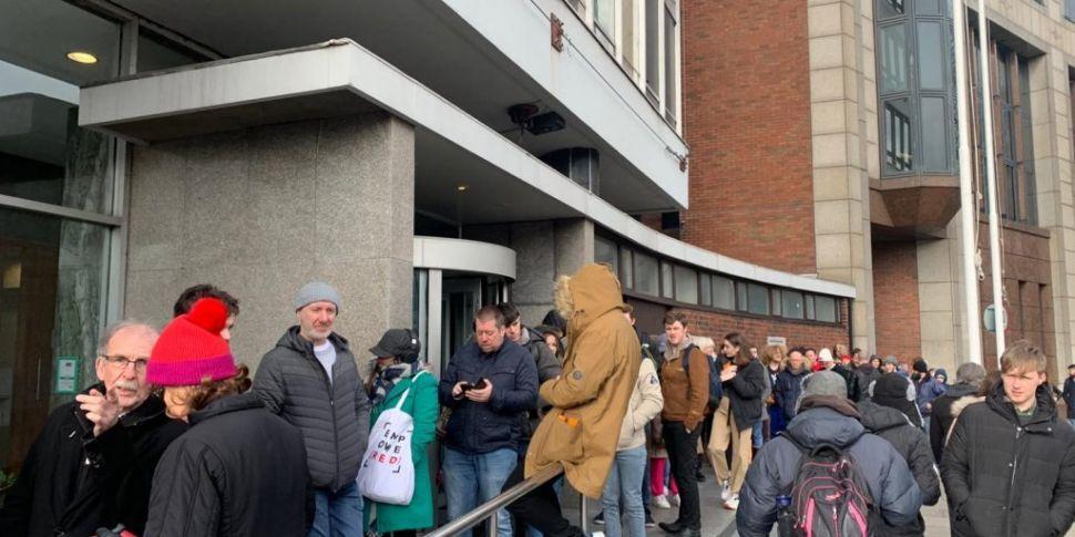 Massive crowds queue in Dublin...