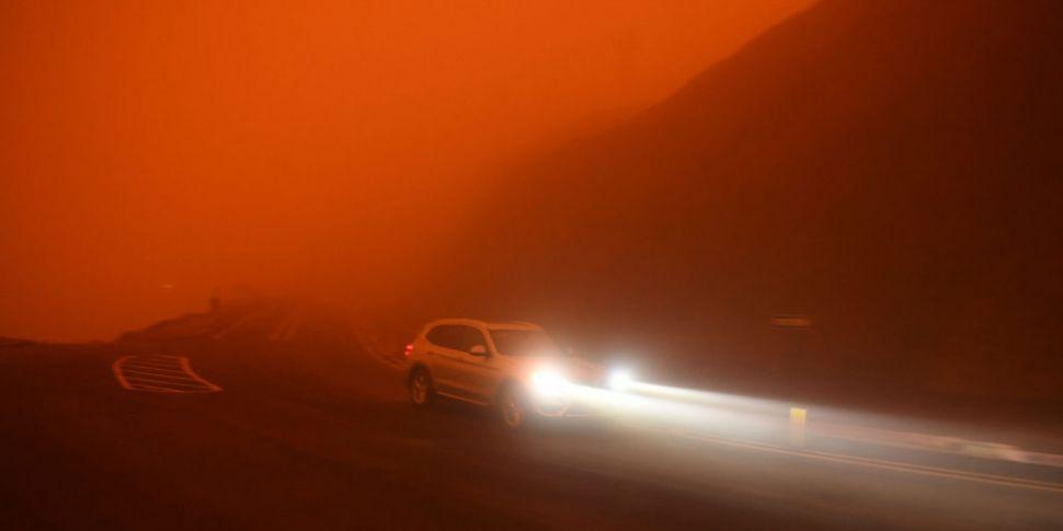 Wildfire scenes in California...
