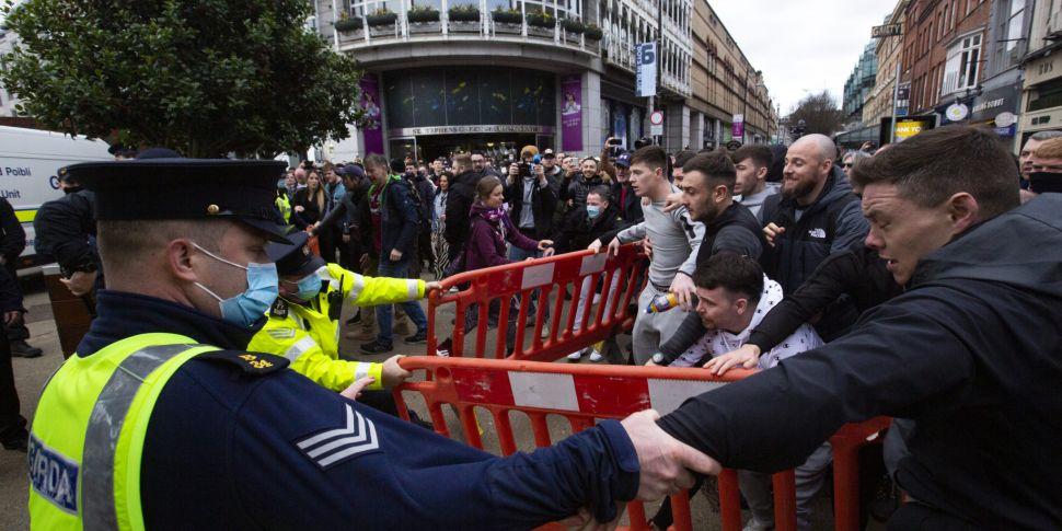 Dublin anti-lockdown protester...