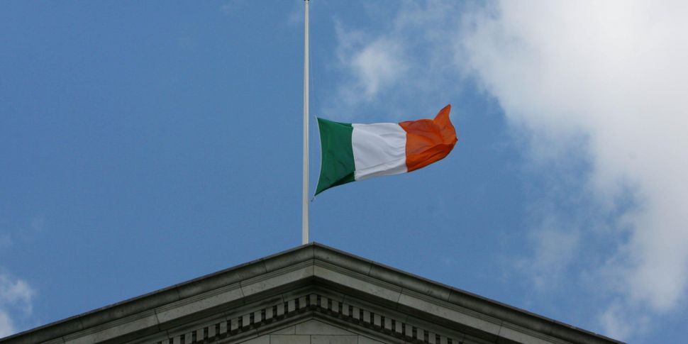 Irish flagflown at half-mast...