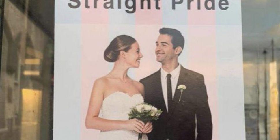 'Straight Pride' posters in Wa...