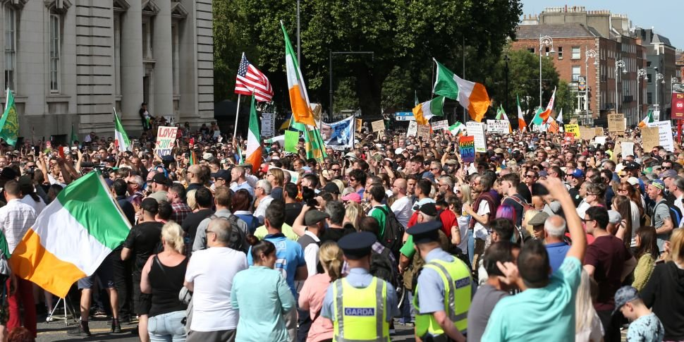 Large crowds protest in Dublin...