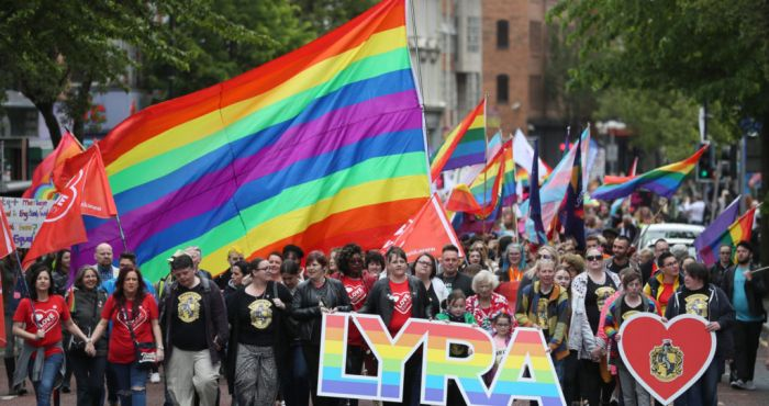 Demonstrators in Belfast call for same-sex marriage to be legalised in North