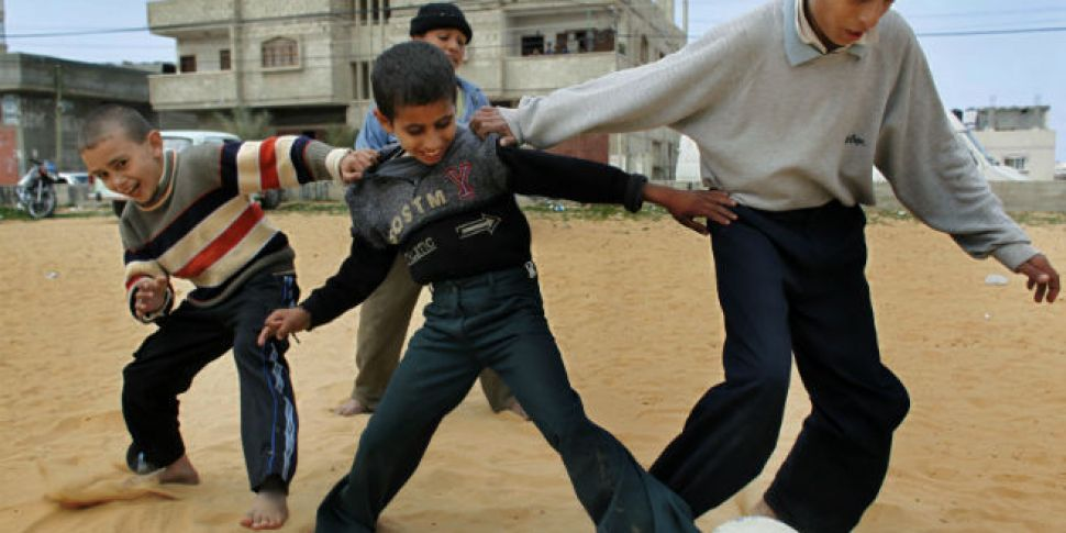 Young footballers from Gaza he...
