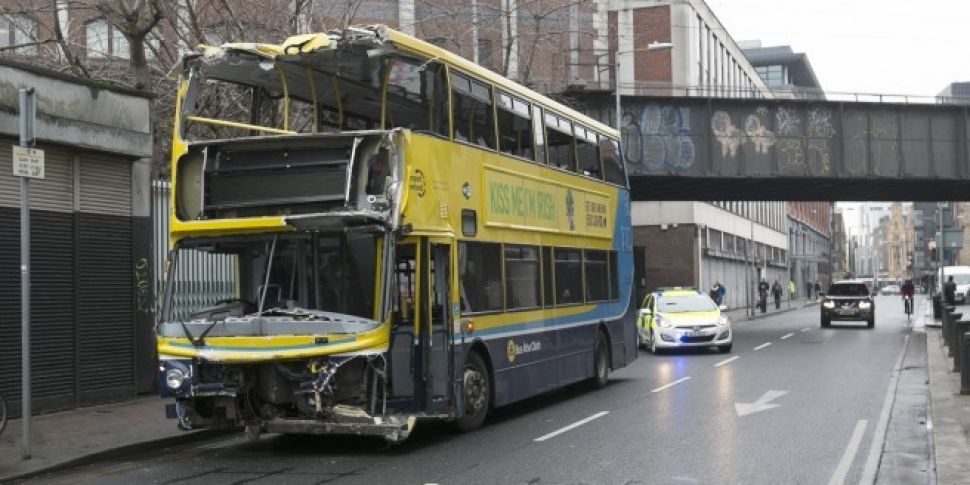 Double-decker bus severely dam...