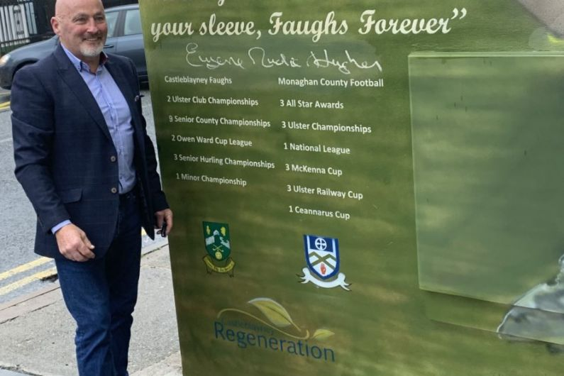 Mural recognising the sporting achievements of Eugene 'Nudie' Hughes unveiled in Castleblayney