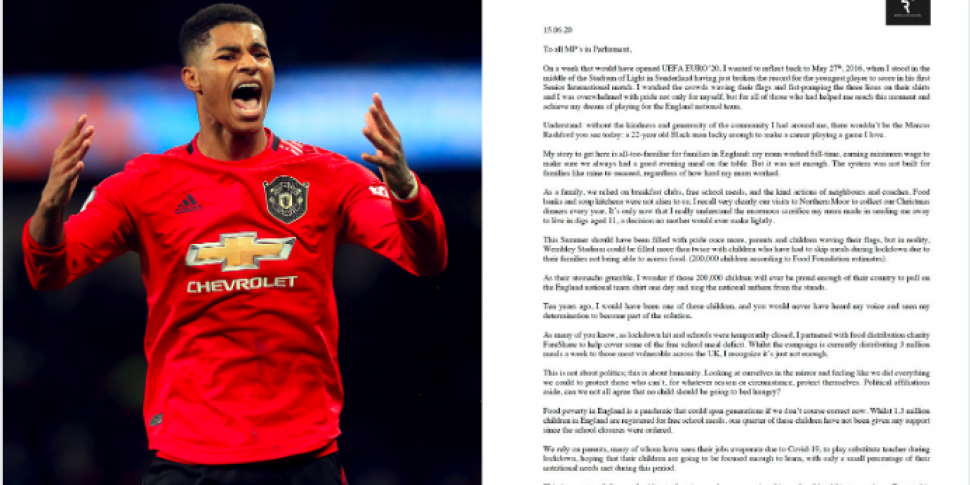 Marcus Rashford writes open letter to MPs addressing food poverty ...