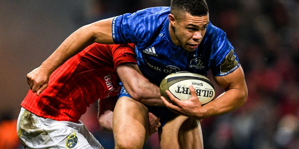 Leinster's Adam Byrne hit with...