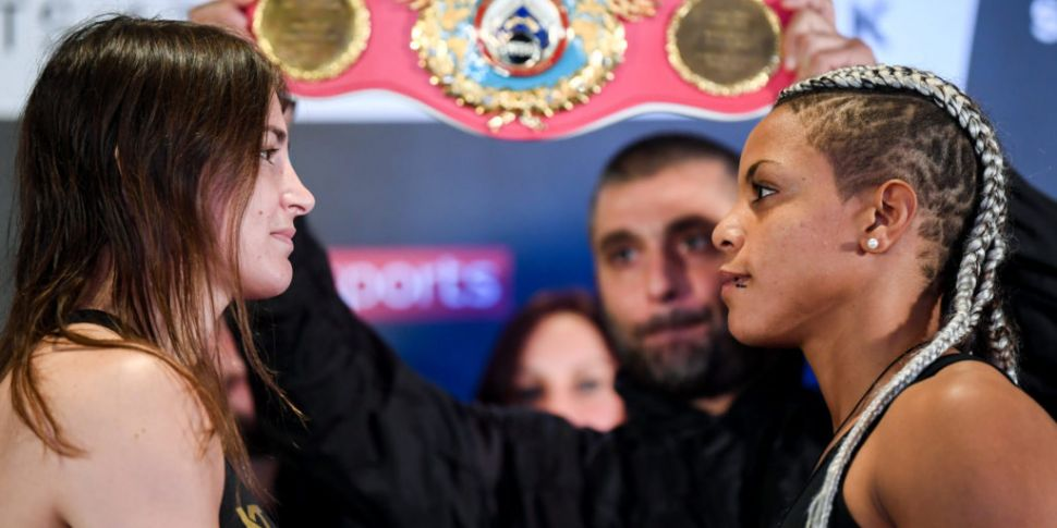 Katie Taylor weighs in a pound...
