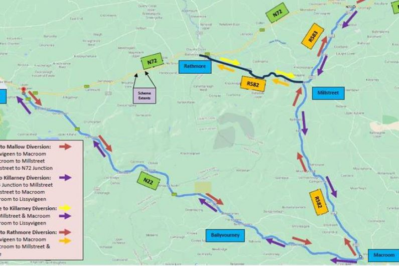 Section of N72 will be closed for next two weeks