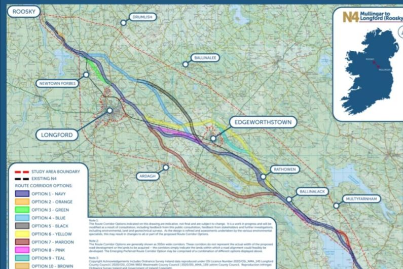 Route options for Mullingar-Rooskey M4 Road project published
