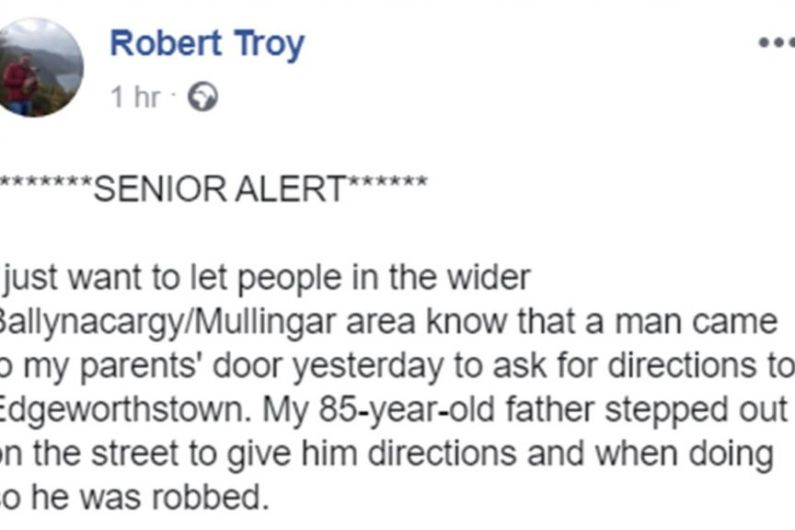 Local TD issues warning after elderly father robbed by man looking for directions