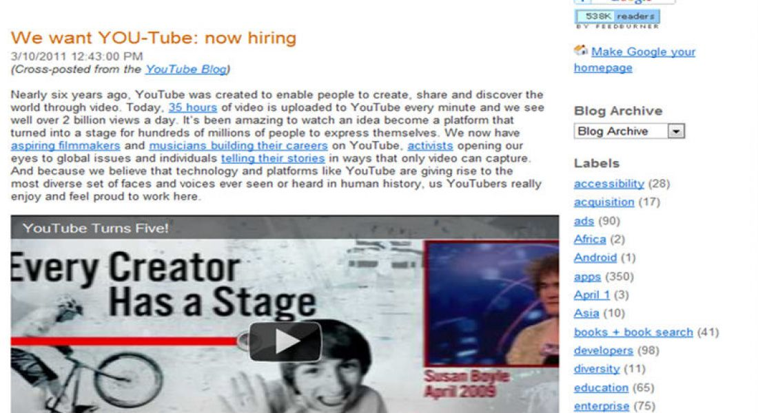 YouTube adds 200 new jobs