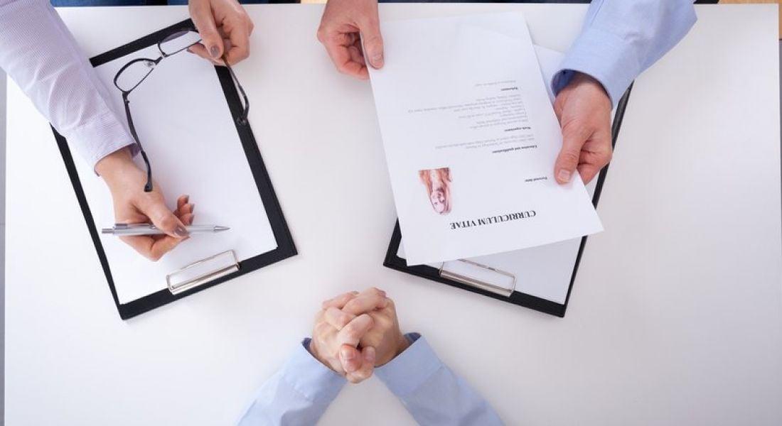 CV at a job interview