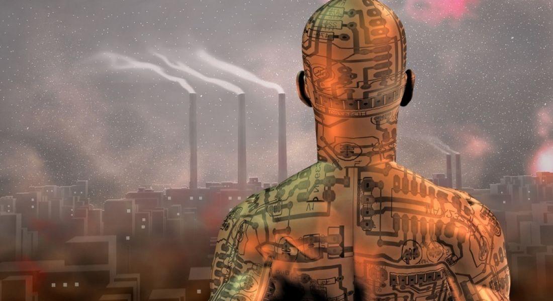 Machine man watching industry