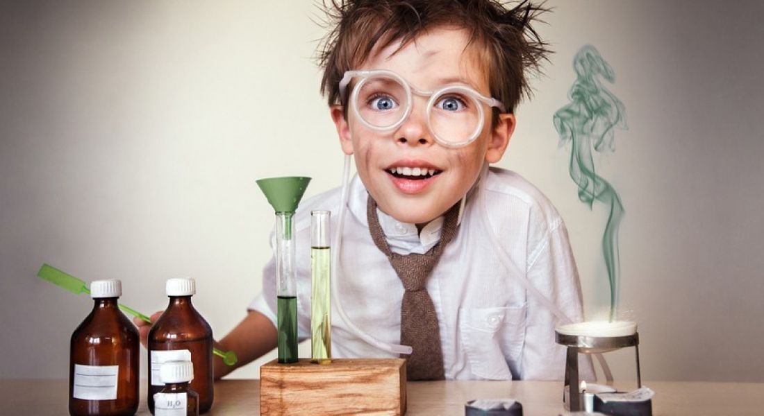 Kid messing around with a chemistry experiment