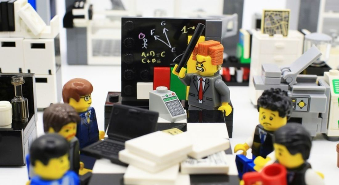 Lego office meeting for social media memes