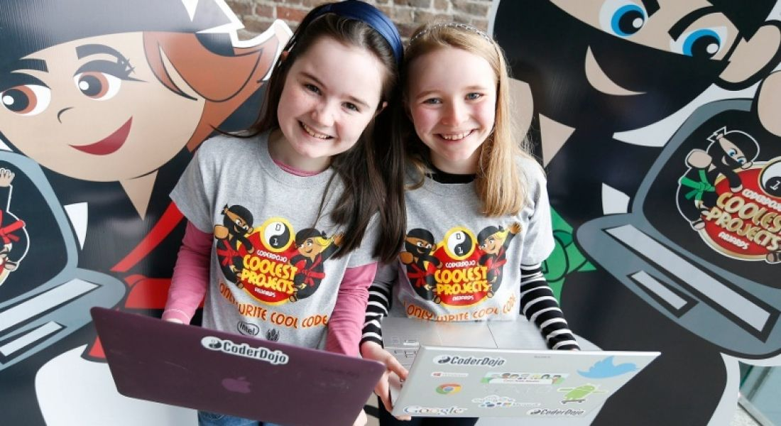 Coding: Lauren and Ciara, CoderDojo DCU, at Coolest Projects launch