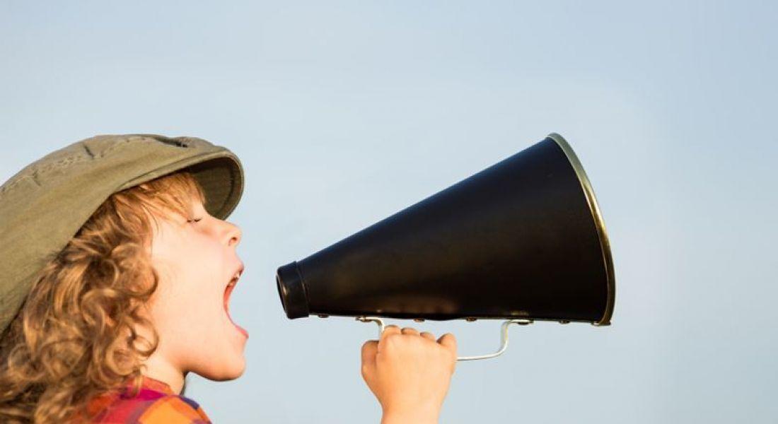 Child using megaphone