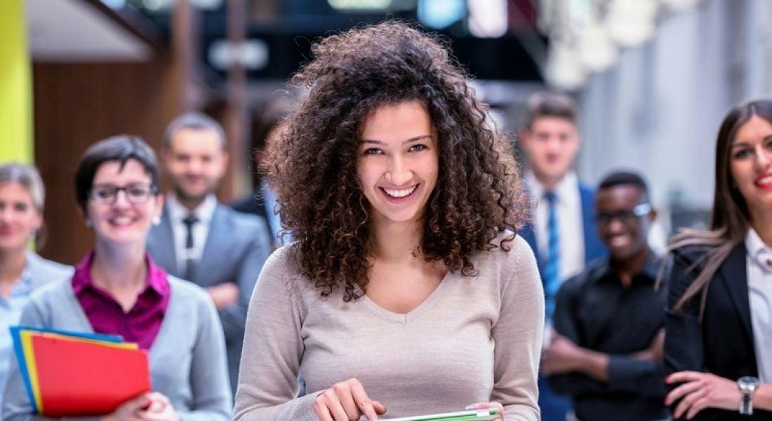 Tech sector: group of confident tech employees