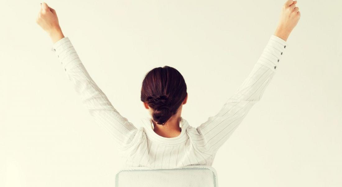 Fintech: woman celebrating