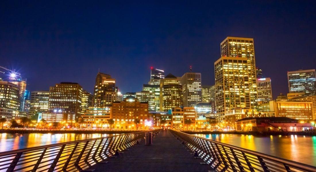 Fintech: path leading to cityscape