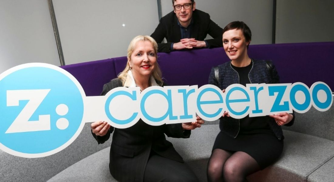 Career Zoo directors Brian Ó hOisín and Jackie Slattery, pictured with Julie Sharp, Head of Group HR, Bank of Ireland