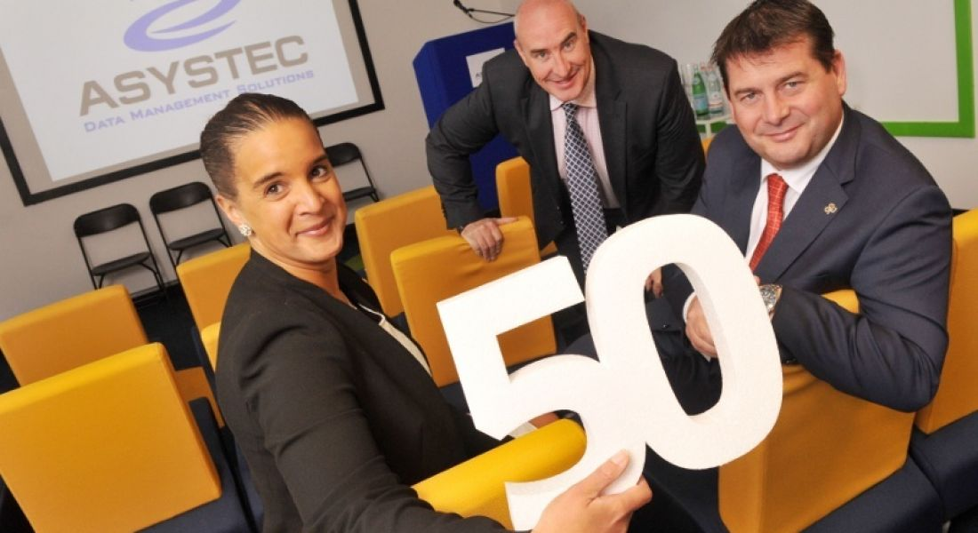 Senior Enterprise Account Manager, Sophia Byrne; Les Byrne, MD of Asystec; and Minister Dara Murphy TD