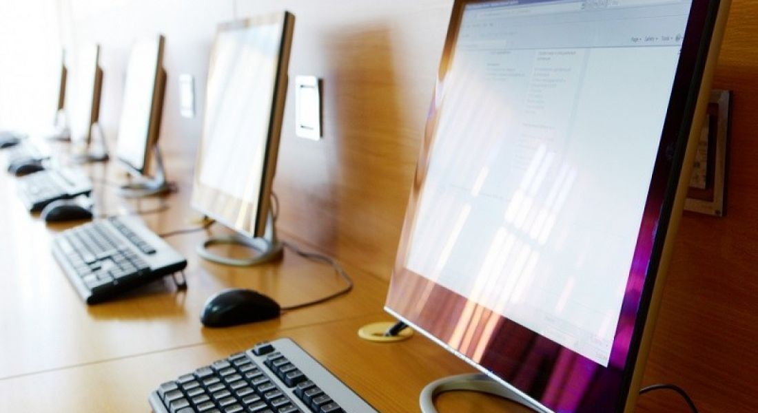 Digital Strategy for Schools: computers lined up on desk