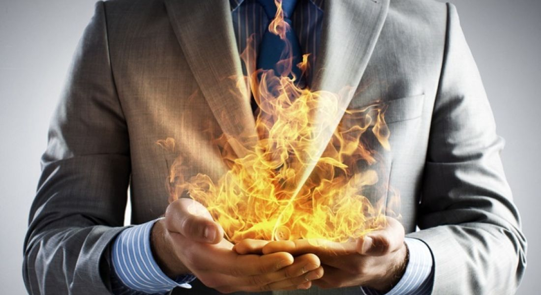 Hottest jobs of 2016: business person holding flames