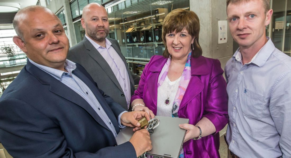 Niccolo Alicandri, Laurence Conroy, Dr Patricia Mulcahy and Richard Butler pictured at the launch of IT Carlow's new Cybercrime and IT Security programme